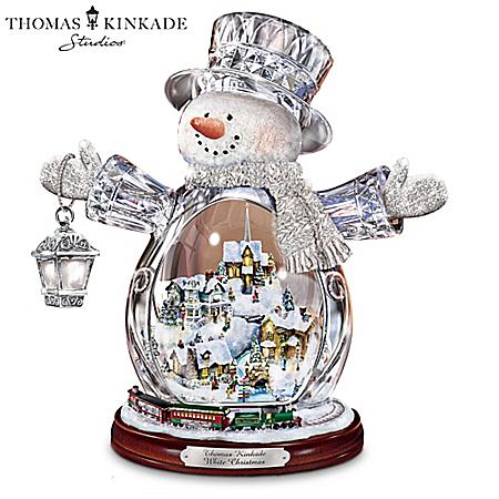 Thomas Kinkade Crystal Snowman Figurine Featuring Light-Up Village And Animated Train