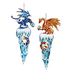 Decorative Fantasy Dragon Christmas Ornaments: Kingdom Of The Ice Collection Set One