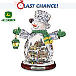 John Deere Heartland Crystal Snowman Figurine: Christmas Village Holiday Decoration