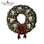 Thomas Kinkade Silver Bells Musical Christmas Wreath