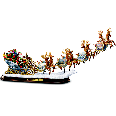 Thomas Kinkade Santa's Sleigh Illuminated Sculpture: The Night Before Christmas