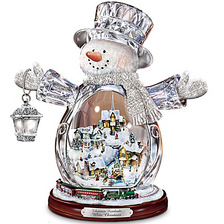 Thomas Kinkade Crystal Snowman Figurines With Christmas Village And Animated Christmas Train