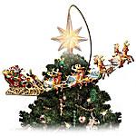 Thomas Kinkade Holidays in Motion Rotating Illuminated Tree Topper - Animated Christmas Decor