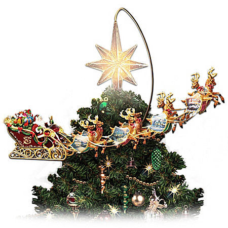 Thomas Kinkade Illuminated Animated Santa Claus Tree Topper