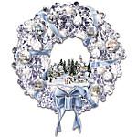 Thomas Kinkade Blown Glass Ornament Illuminated Christmas Wreath - Holiday Brilliance