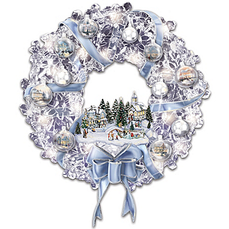 Thomas Kinkade Blown Glass Ornament Illuminated Christmas Wreath: Holiday Brilliance
