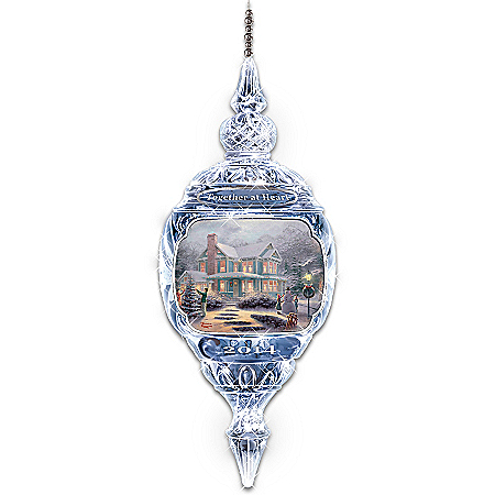 2014 Thomas Kinkade Together At Heart Annual Crystal Christmas Ornament