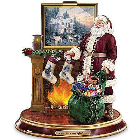 Thomas Kinkade Illuminated Santa Claus Figurine