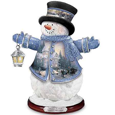 Thomas Kinkade Victorian Christmas Snowman Figurine