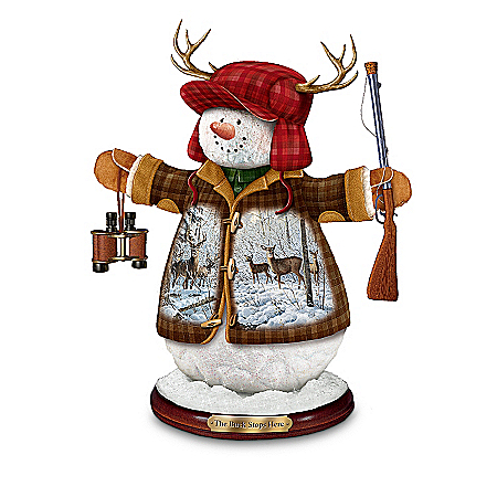 Deer Hunters Christmas Tabletop Snowman Figurine: The Buck Stops Here