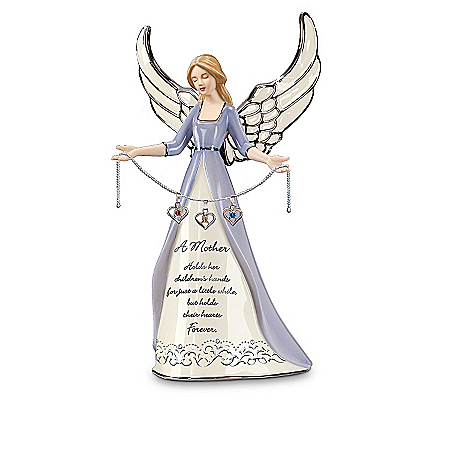A Mother's Heart Birthstone Charm Angel Figurine: Personalized Gift for Mom
