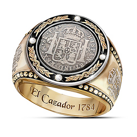 The Historic El Cazador Shipwreck Silver Coin-Inspired Men's Diamond Ring