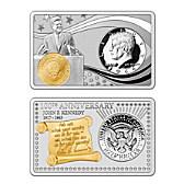 JFK 100th Anniversary Silver Bar And Half-Dollar Coin Set