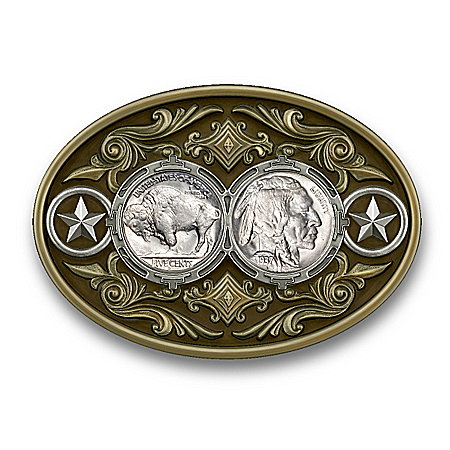 U.S. Buffalo Nickel Western-Style Belt Buckle
