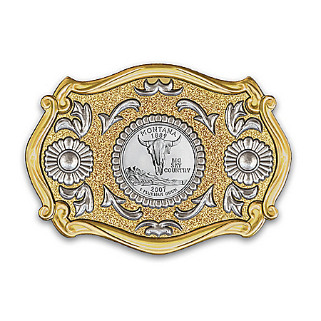 Montana State Quarter Western Style Sculpted Belt Buckle