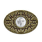Wyoming State Quarter Western Style Sculpted Belt Buckle