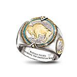 The Buffalo Nickel U.S. Coin Men's Ring Showcasing American Bison