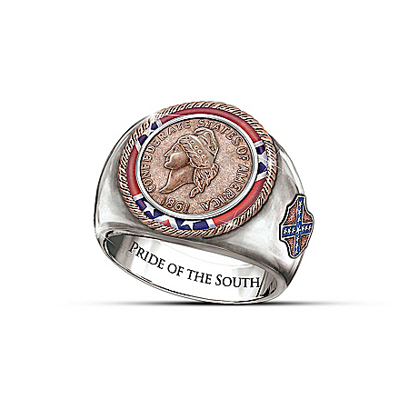1861 Confederate Cent Civil War Commemorative Men's Ring