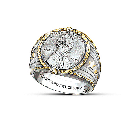 Genuine 1943 Steel Cent Men's Ring: American Hero