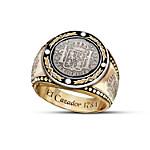 The Historic El Cazador Shipwreck Silver Coin-Inspired Men's Diamond Ring