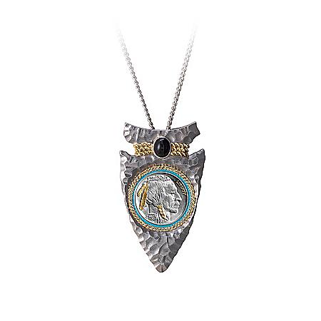 Men's Necklace: Indian Head Nickel Arrowhead Pendant Necklace