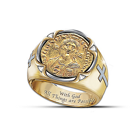 Men's Ring: Face Of Faith: Christ Coin Ring