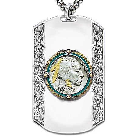 Men's Necklace: Spirit Of The West Personalized Dog Tag Pendant