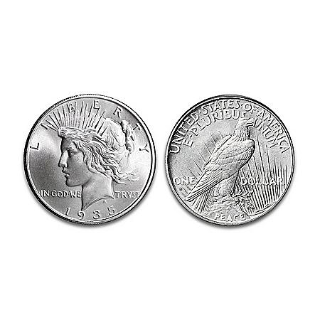 "Silver Dollar: 1935 ""4 Ray"" Peace Silver Dollar Coin"