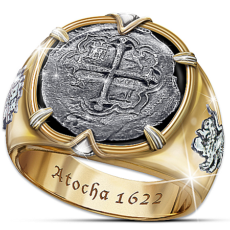 Atocha 1622 Shipwreck Men's Ring Crafted with Sunken 8 Reales Silver Coins