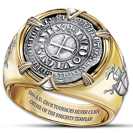 The Crusader 24K Gold-Plated Men's Ring Of Valor Ring With Silver Coin