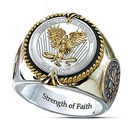 St. Michael The Guardian Silver Crown Ring