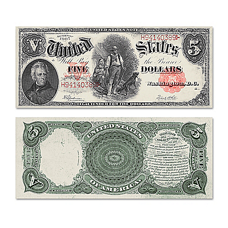 """The Series 1907 $5 Legal Tender """"Woodchopper"""" Bill With Andrew Jackson"""