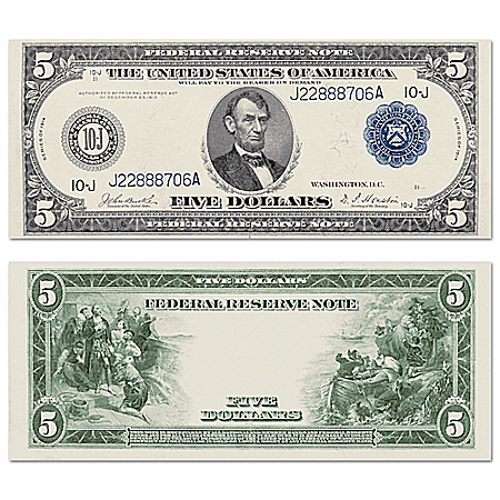 The New World Discovered 1914 $5 Federal Reserve Blue Seal Note