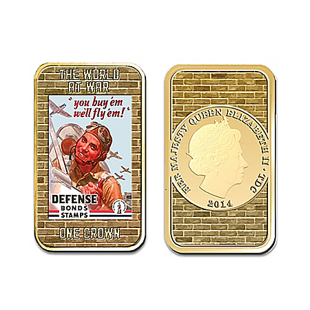 The World War Poster Gold Plated Ingot Set With Display Box