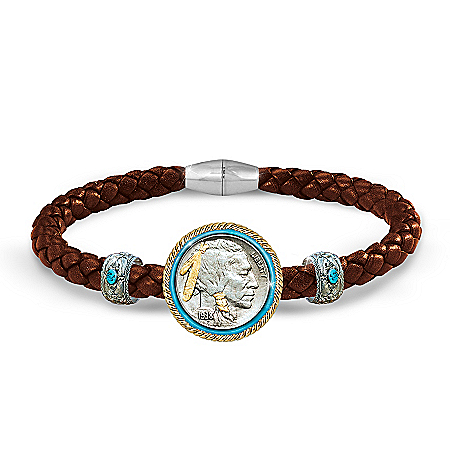 The Indian Head Nickel Men's Leather Bracelet