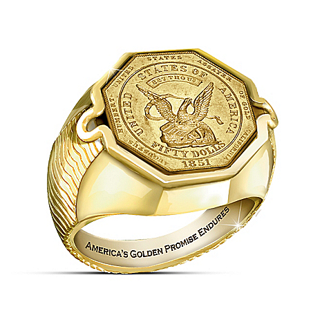 California Gold Rush Coin 24K Gold-Plated Ring