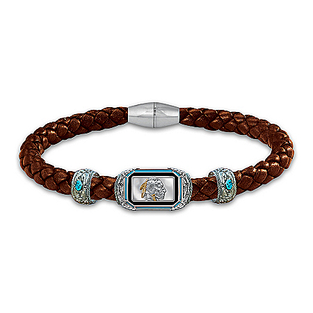 The Indian Head Ingot Men's Leather Bracelet