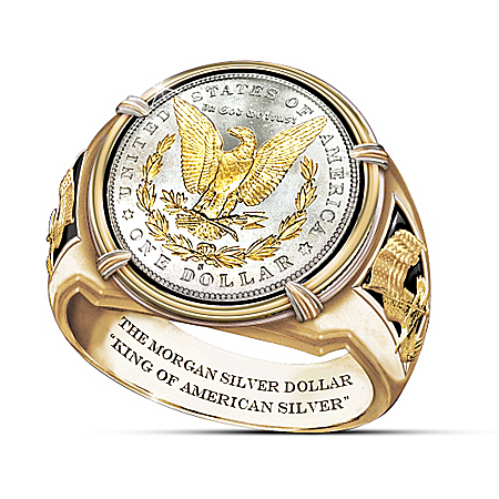 King Of American Silver 1878 Morgan Silver Dollar Inspired Ring