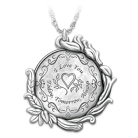 Today Tomorrow and Always Love Reversible Pendant Necklace in Sterling Silver