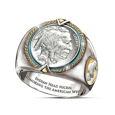 Indian Head Nickel Silver-Plated Men's Ring