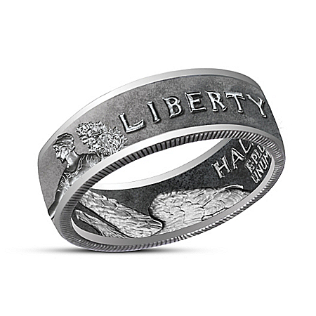 The Walking Liberty Half Dollar Handcrafted Silver Ring