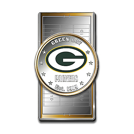 Official NFL Green Bay Packers Silver Dollar Money Clip