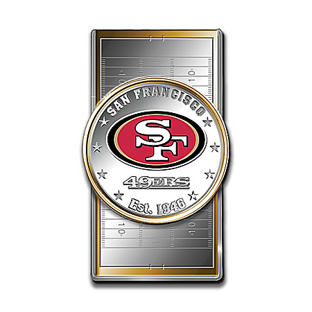 Official NFL San Francisco 49ers Silver Dollar Money Clip