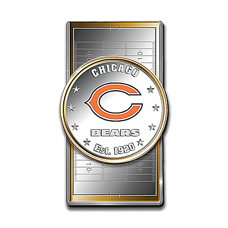 Official NFL Chicago Bears Silver Dollar Money Clip