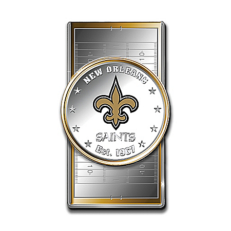Official NFL New Orleans Saints Silver Dollar Money Clip