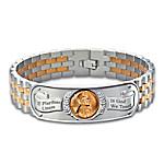 The Genuine Copper Penny Men???s Stainless Steel Bracelet