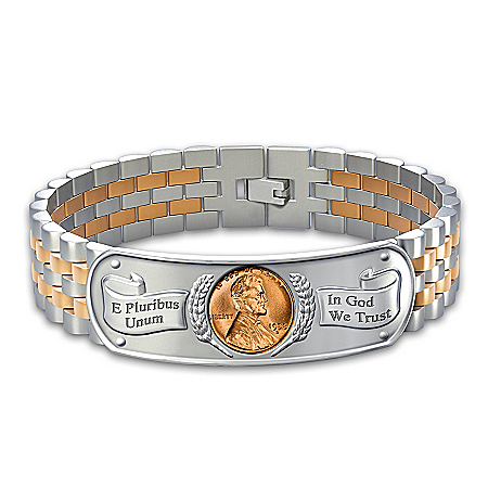 The Genuine Copper Penny Mens Stainless Steel Bracelet