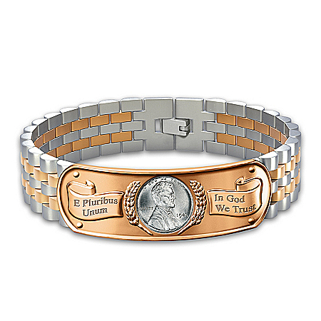 The Genuine WWII Steel Penny Men's Stainless Steel Bracelet
