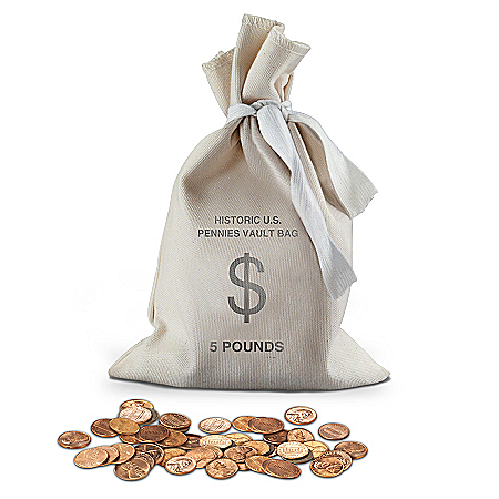 The Historic U.S. 700 Lincoln Pennies 5 Pound Vault Bag Coin Set