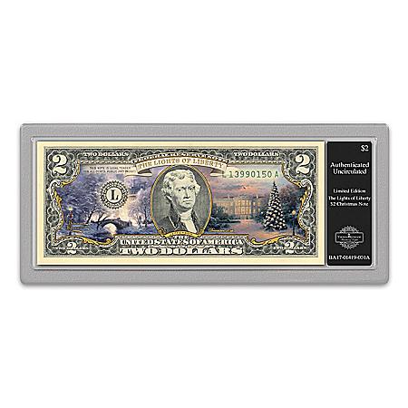 Thomas Kinkade Patriotic Christmas $2 Bill Currency